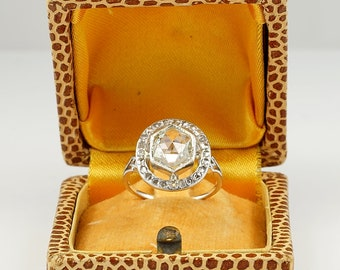 Charming Edwardian 2.0 Ct Wide Rose Cut Diamond Platinum Ring