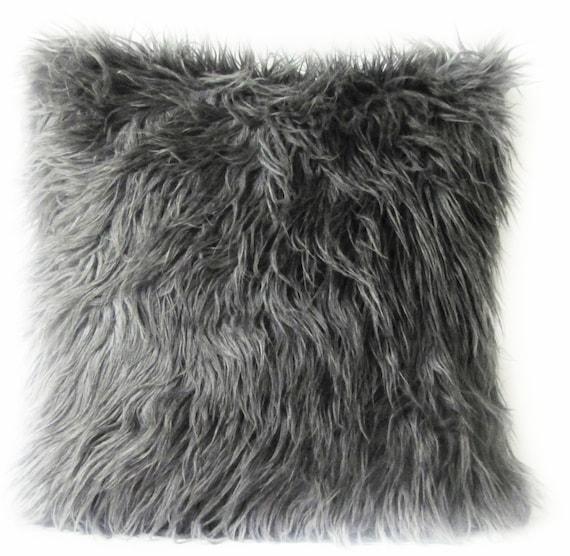 Grey Fur Pillow Cover. Mongolian Faux