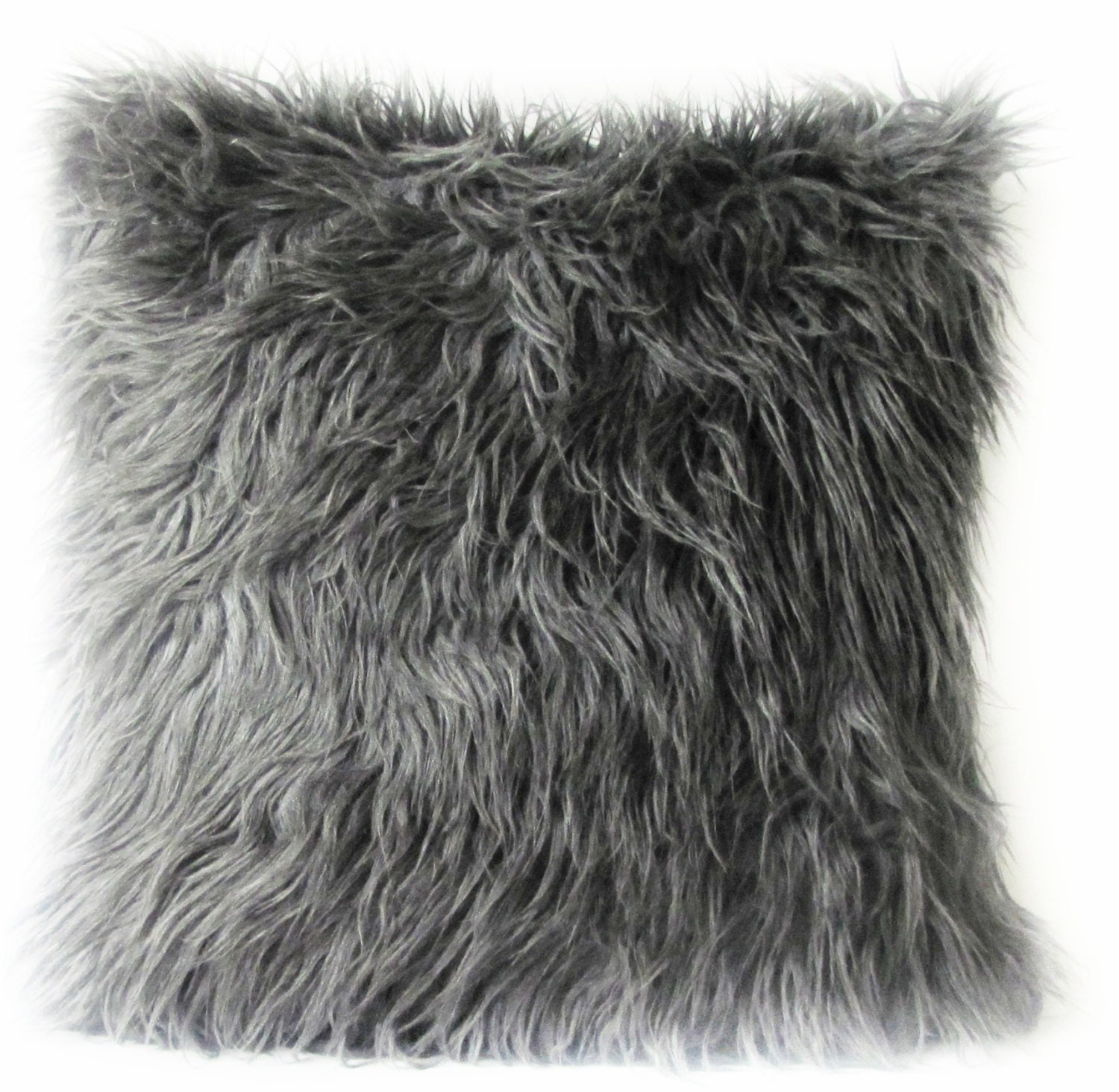 Grey Fur Pillow Cover Mongolian Faux Grey Fur Decorative Pillow Grey Fur Pillow 16 17 18 20 24 26 Euro Sham Or Lumbar Pillow