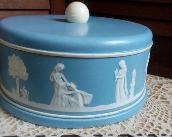 wedgewood blue TIN with hinged lid vintage made in England