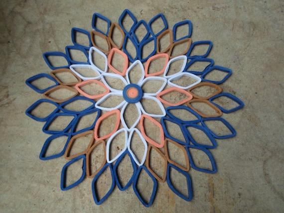 Dunkelblaue wandbehang dahlie wand papierkunst schlafzimmer etsy - Dunkelblaue wand ...