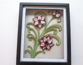 Paper flowers wall framing Quilled flowers in shadowbox Shadow box wall art