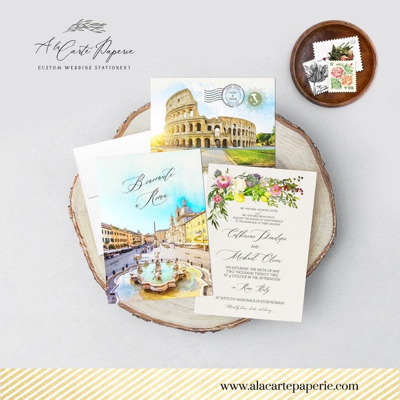 Deposit Payment Rome Italy Destination Wedding Invitation Roma Italian watercolor illustrated wedding invitation Navona Colosseum
