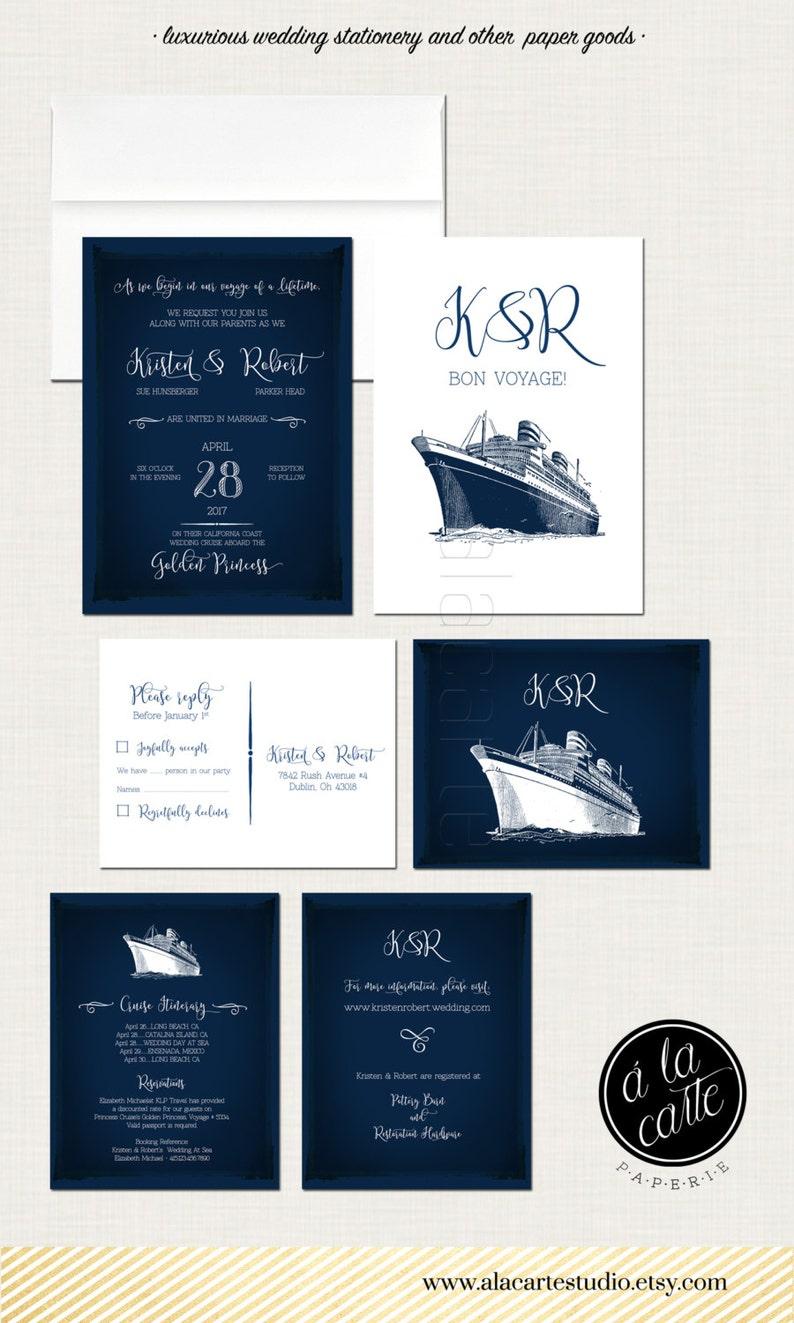 Cruise Ship Wedding Invitation Rsvp Info Card Destination Etsy