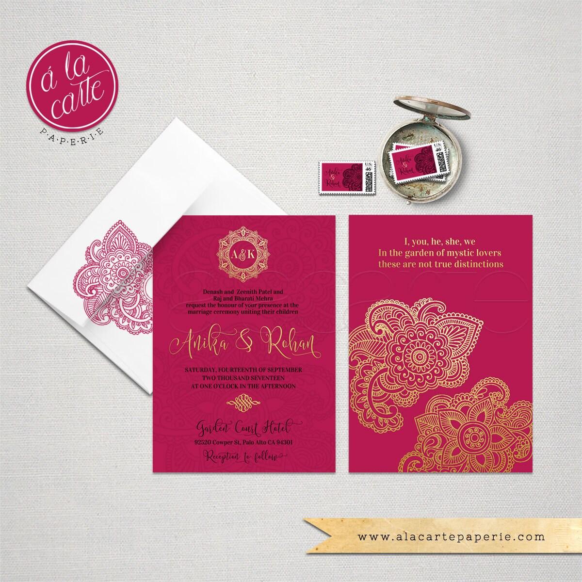 Indian Style Wedding Invitation in orange red Indian Arabic | Etsy