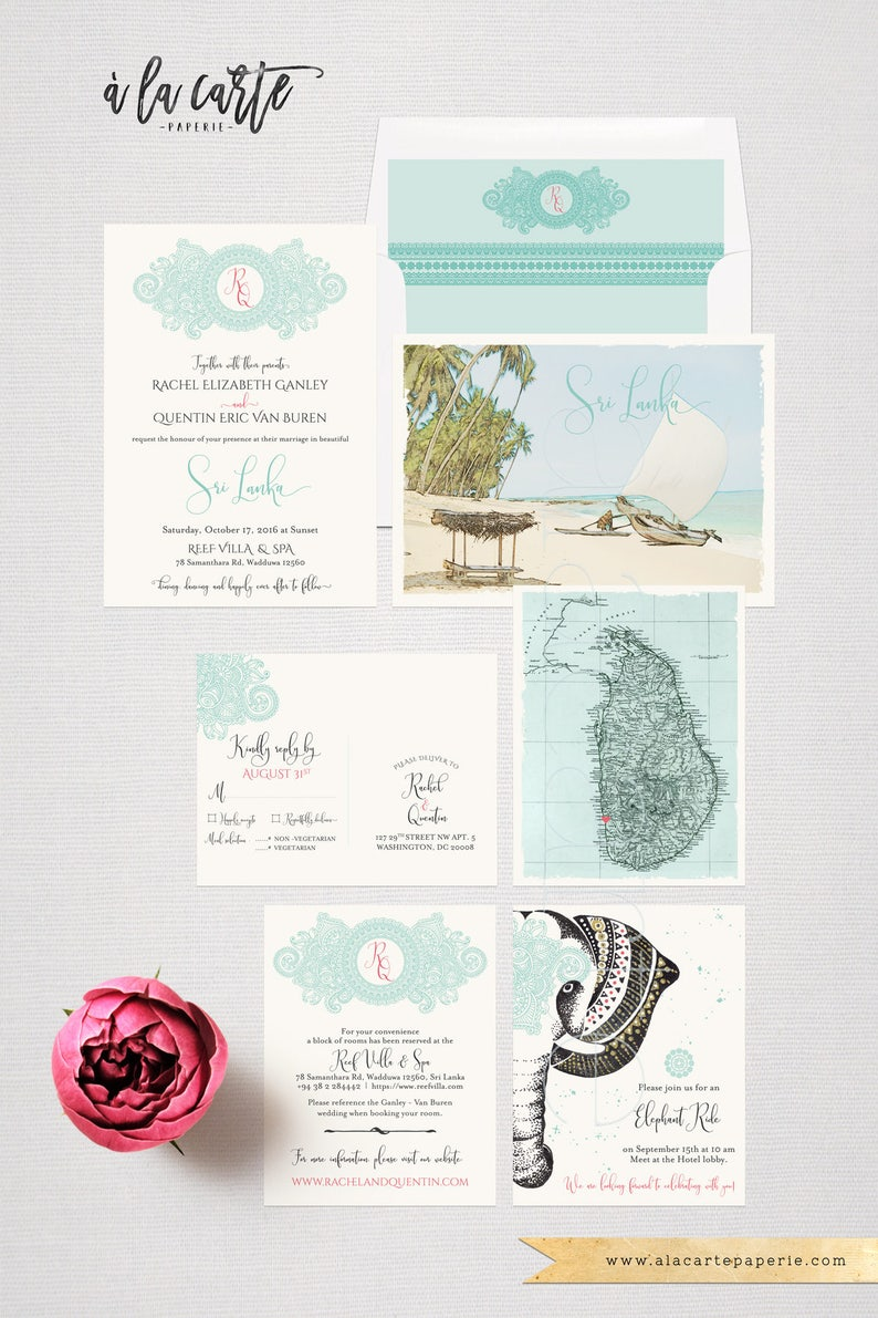 Destination Wedding Invitation Sri Lanka Ceylan India Asia Etsy