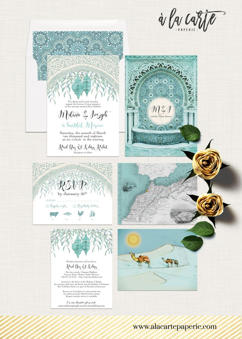 Moroccan-Themed Arabian Desert Wedding Invitations in Turquoise and Teal