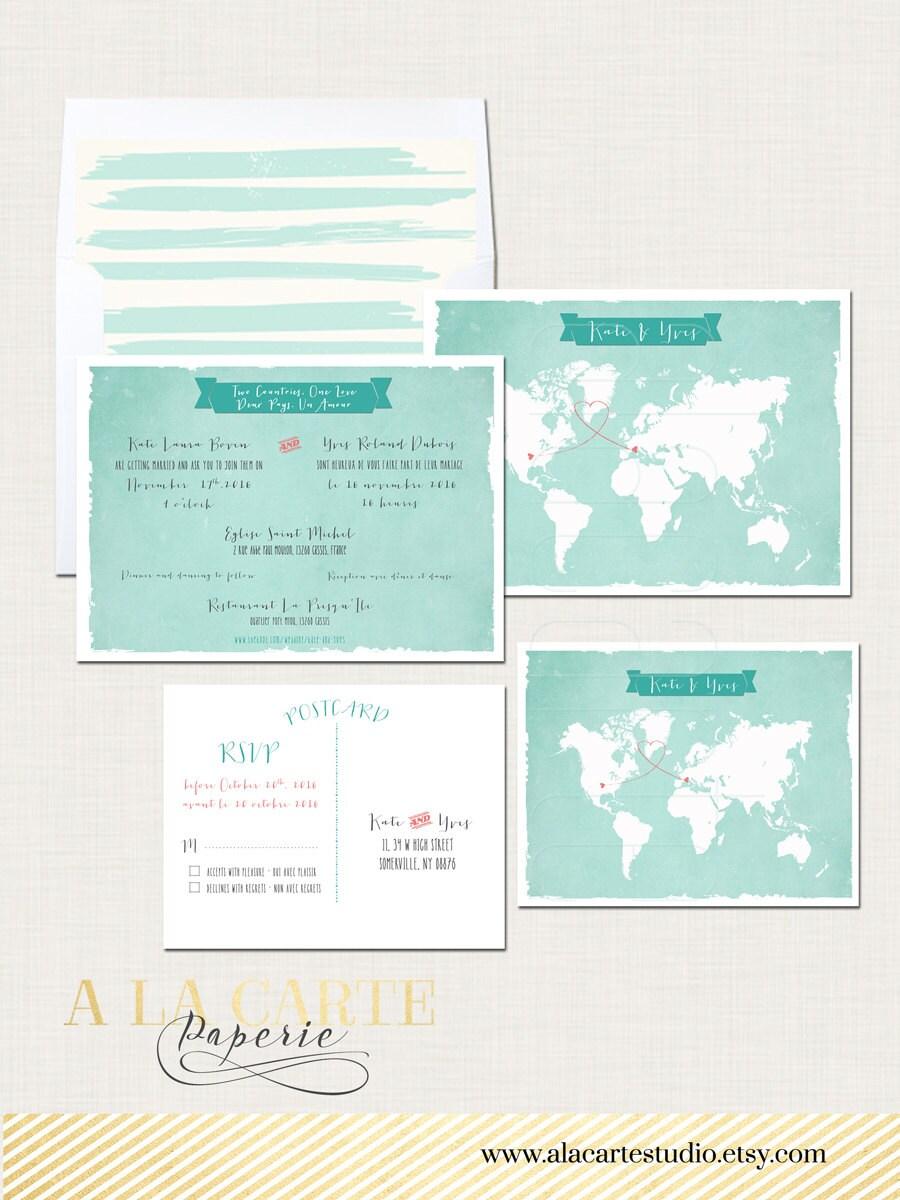 Destination wedding bilingual wedding invitation invitation   Etsy