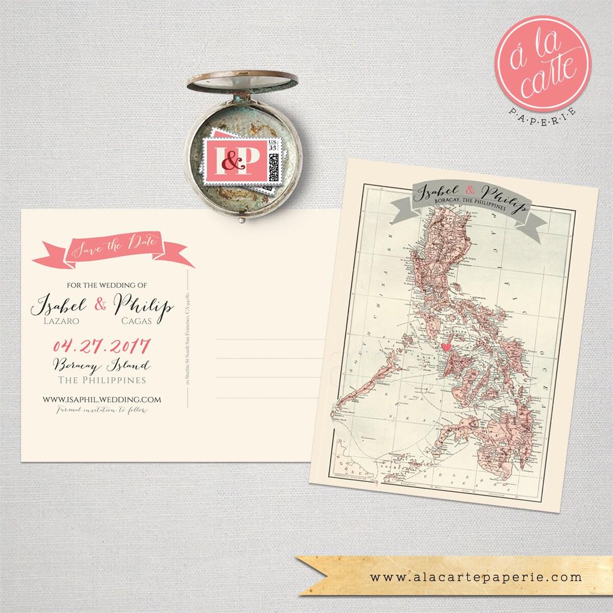 Destination wedding invitation The Philippines Boracay Manila | Etsy