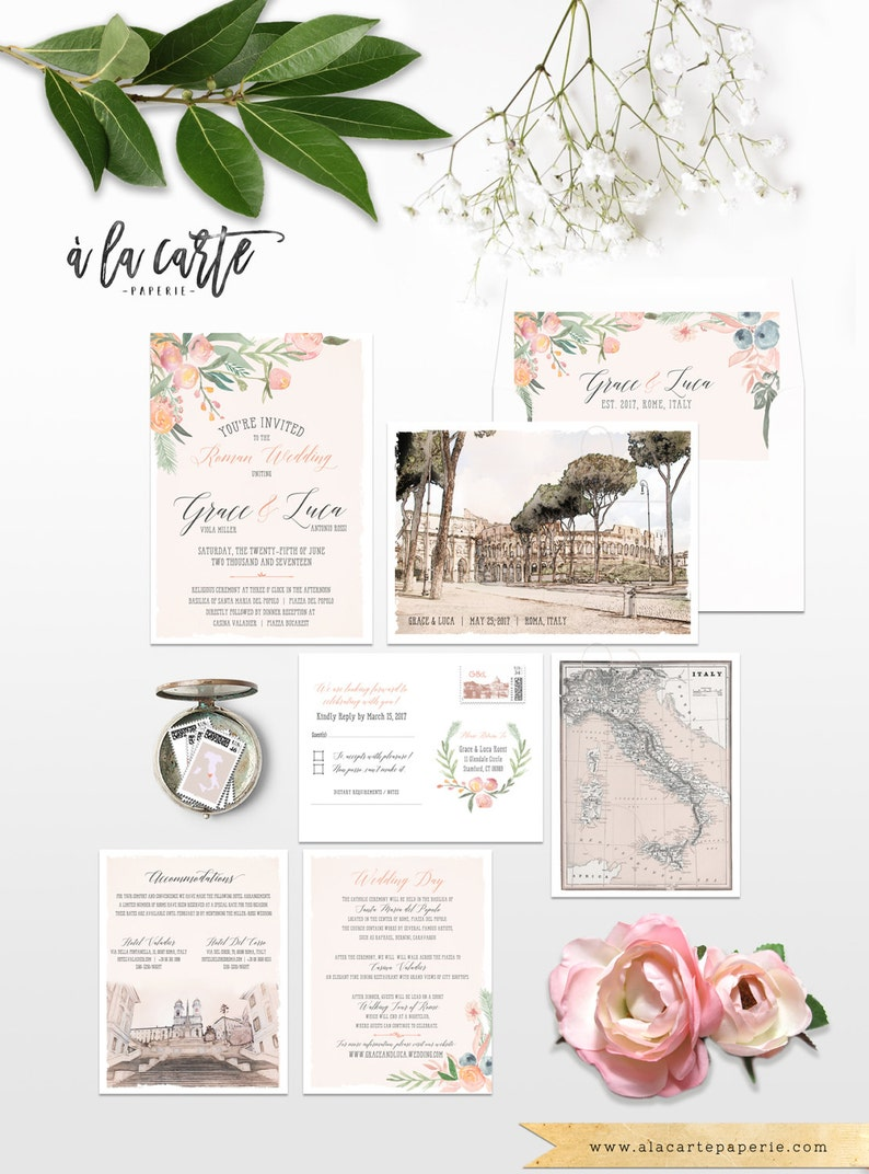 on sale fd987 edc09 Rome Italy Destination Wedding Invitation Rome Roma Italian illustrated  wedding invitation in Blush Peach Pink Colosseum - Deposit Payment