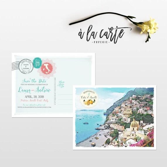 Positano Amalfi Coast Italy Illustrated Destination Wedding Etsy