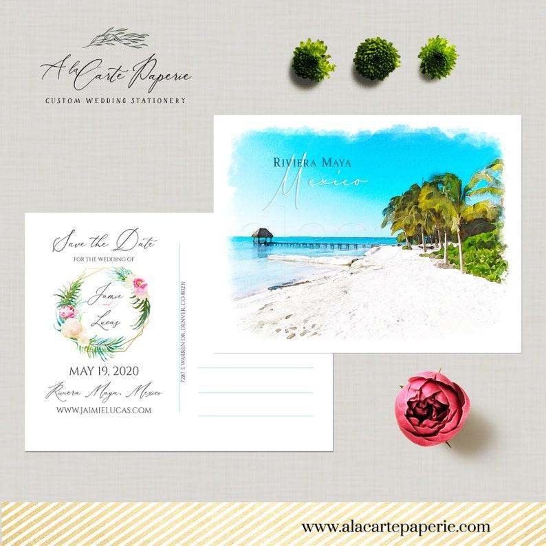 Destination wedding Riviera Maya Mexico Save the Date Postcard Cancun Puerto Morelos Playa del Carmen watercolor illustrated Deposit Payment
