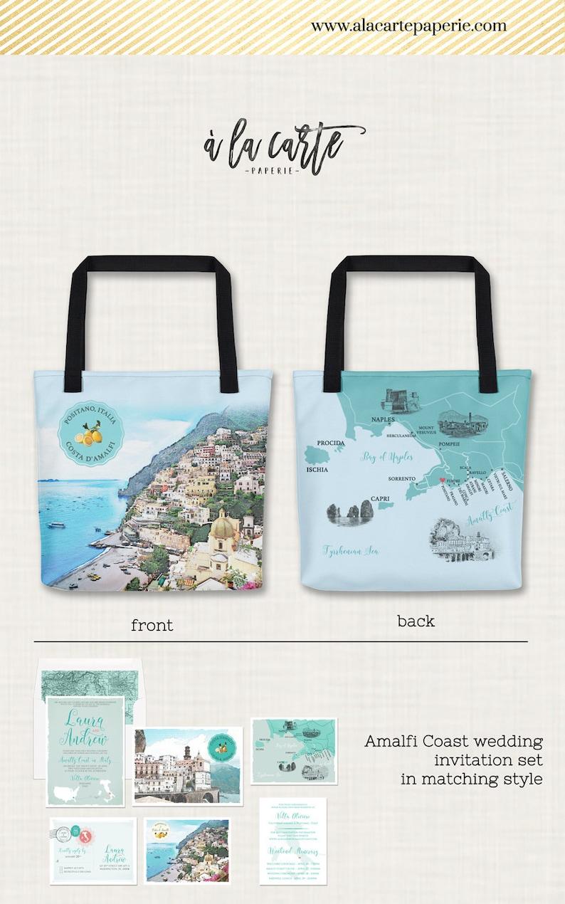 7bc41f1f0fba Amalfi Coast Italy Custom Illustrated Tote Bag Destination wedding guest  gift - all over printed bag Positano, Sorrento, Ravello Shopping