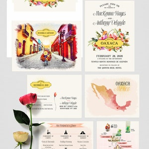 Deposit Payment Mexico Sayulita Destination wedding invitation Mexican illustrated watercolor floral blue green beach set
