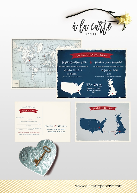 Destination Wedding Invitation Uk England And Usa Wedding Etsy