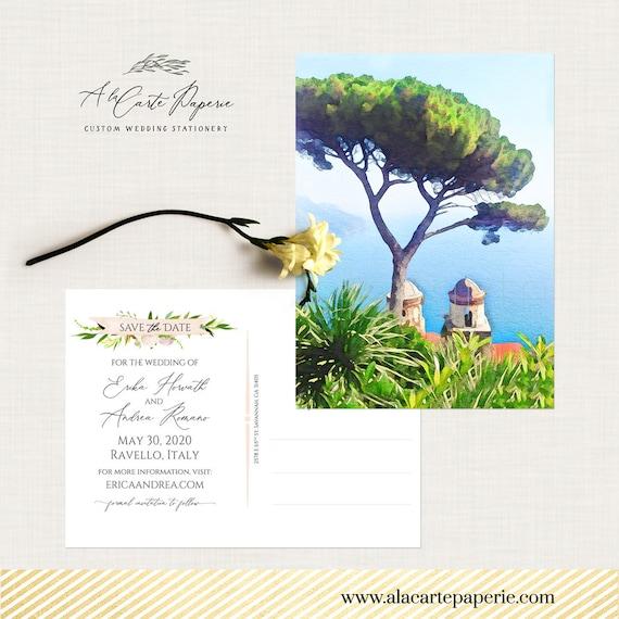 Amalfi Coast Italy Heart Personalised Wedding Save The Date Cards