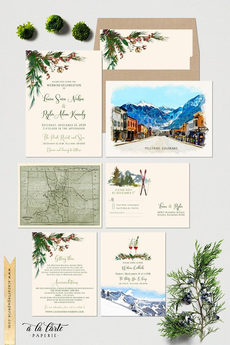 Destination wedding Telluride Colorado USA watercolor illustrated wedding invitation Winter Ski Mountain Spruce wedding Deposit Payment