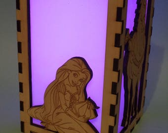 Tangled / Rapunzel Etched Wood Color Changing Luminary