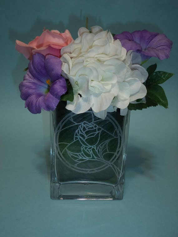 Beauty The Beast Etched Rose Vase Etsy