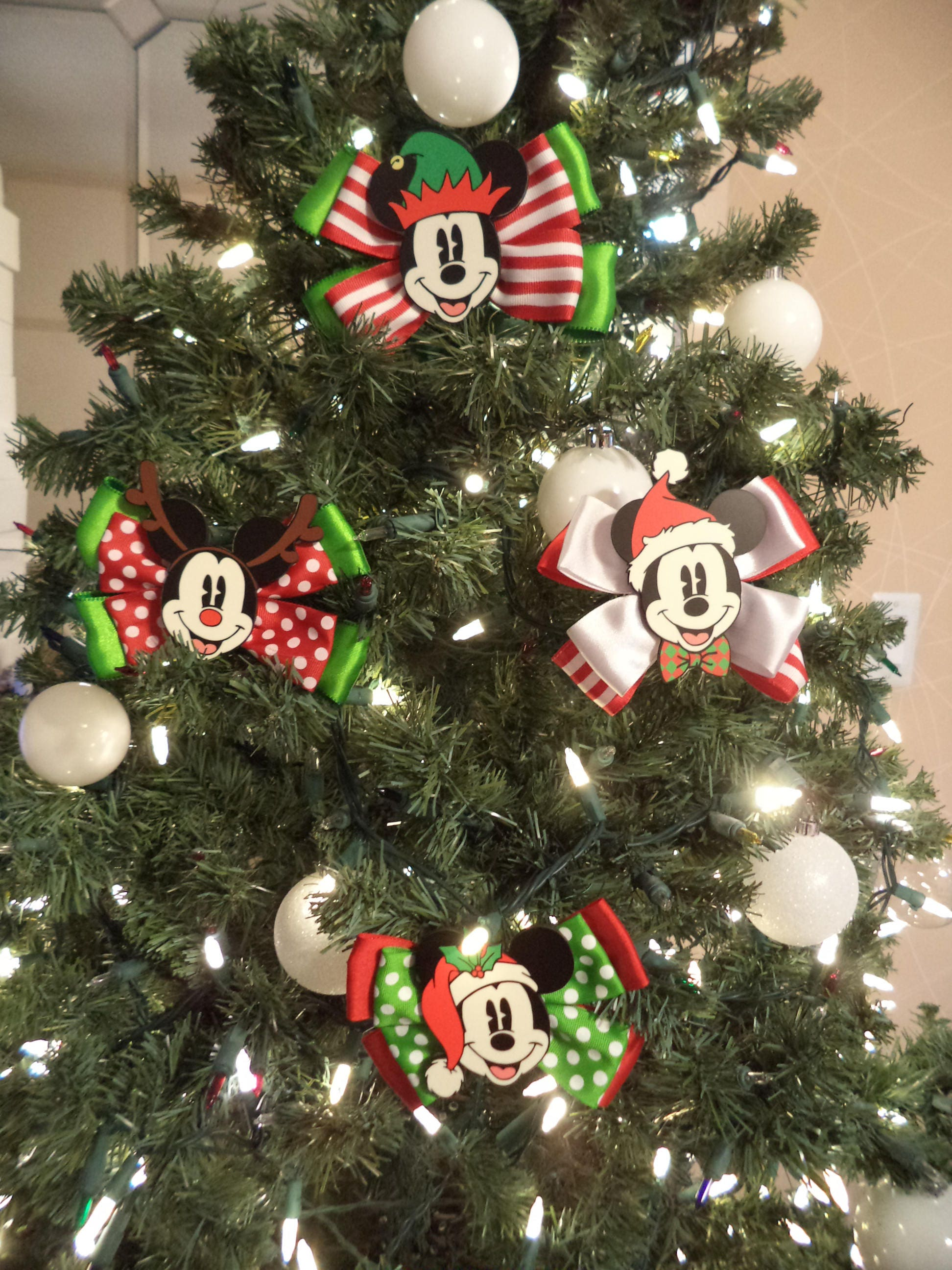 Hand made Mickey Christmas Bows Ornaments set of 12
