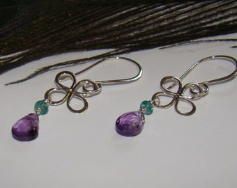 Sterling Silver Flower & Amethyst Dangle Earrings February Birthstone Earrings