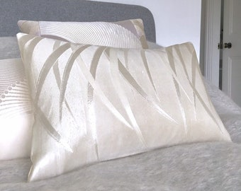 Bolster pillow lumbar cushion in ivory silver grey woven stylised leaf design made from fine vintage Japanese obi silk limited edition