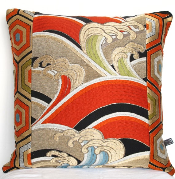 Spectacular Hokusai Inspired Luxury Oriental Decorative Pillow Enchanting Oriental Decorative Pillows