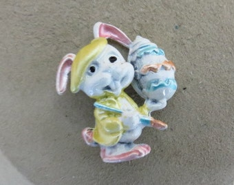 Vintage Easter Bunny Painting An Egg Metal Pin