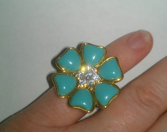 925 Sterling Silver Ring With Cubic Zirconia Turquoise Flower Ring