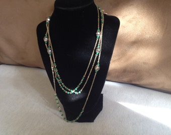 Vintage Goldtone Chain Wrap Necklace with Green and Metallic Beaded Design