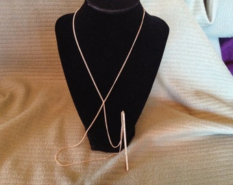 Vintage Goldtone Necklace with Rhinestone Pendant, Length 38''