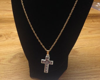 Vintage Goldtone Necklace with White Cross Design Pendant, Length 23.5''