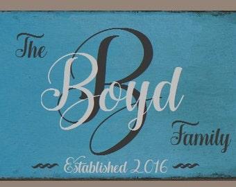 "Family Monogram Sign, Wedding Sign, Family Established Sign - 24"" x 16"" SignsbyDenise"