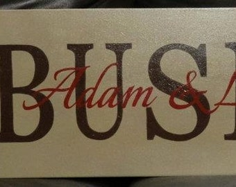 """Wedding Sign, Family Name Sign with Year Est., Names & Damask Pattern - 36"""" x 10"""" SignsbyDenise"""