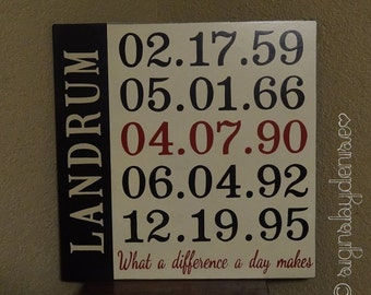 """What a Difference a Day Makes Sign, Family Name Sign, Important Dates Sign, Anniversary Sign 18"""" x 18"""" SignsbyDenise"""