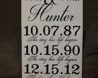 """Mr & Mrs Sign, Wedding Sign, Important Dates Sign, Anniversary Sign, Personalized Sign  - 12"""" x 19"""" SignsbyDenise"""