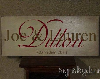"""Wedding Sign, Family Name Sign with First & Last Names, Anniversary Sign with Year Established - 24"""" x 10"""" SignsbyDenise"""