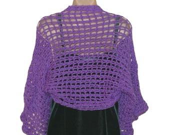 Crochet Bolero, Evening Shrug, Womens Bolero, Lilac Shrug, Purple Bolero, Womens Shrug Jacket, Long Sleeve Shrug, Plus Size Shrug,