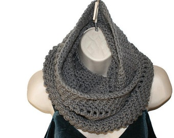 Womens Crochet Scarf, Gray Cowl, Fashion Neck warmer, Eternity Scarf, Womens Crochet Cowl, Eternity Cowl, Infinity Cowl, Winter Cowl