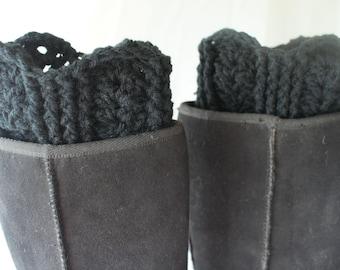 Boot Cuffs, Crochet Boot Toppers, Womens Boot Socks, XL Leggings, Black Boot Socks, Black Boot Cuffs, Leg Warmers, Fashion Boot Cuffs