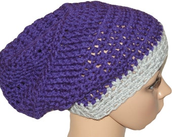 Dread Hat, Slouch Hat, Purple Hat, Crochet Winter Hat, Slouch Beanie, Mens Hat, Unisex Hat, Mens Slouch Hat, Hipster Hat, Baggy Hat