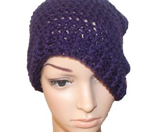 Knit Hat, Womens Hats, Winter Hat, Winter Beanie, Purple Hat, Crochet Hat, Beanie Hat, Mens Beanie, Mens Winter Hat, Slouch Beanie, Plum Hat