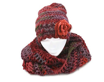 Fall Fashion, Hat Cowl Set, Orange Crochet Hat, Snow Hat Cowl, Womens Fashion Hat, Autumn Scarf Hat Set, Mobius Cowl Set, Womens winter set