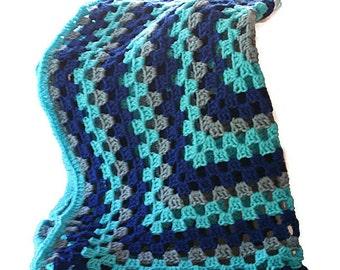 Crochet Baby Afghan, Blue Blanket, Blue Afghan, Granny Square Afghan, Baby Blanket Boy, Crochet Baby Blanket, Blue Baby Blanket, Crib