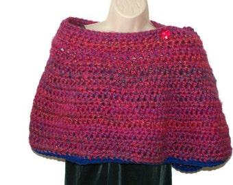 Womens Shawl, Shawl Wrap, Hot Pink Shawl, Crochet Wrap, Button Shawl, Winter Wrap, Womens Wrap, Womens Stole, Chunky Shawl, Pink Wrap