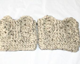 Boot Cuffs, Crochet Boot Toppers, Womens Leg Cuffs, Winter Trend, Wool Boot Socks, Oatmeal Boot Cuffs, XL Boot Cuffs, XL Boot Toppers