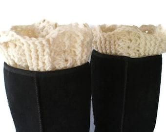 Boot Cuffs, Crochet Boot Toppers, Womens Leg Cuffs, Winter Trend, Boot Socks, White Boot Cuffs, Plus Size Boot Cuffs, XL Boot Toppers