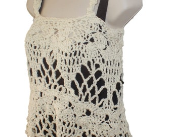 Crochet Top, Sleeveless Top, White Tank, Summer Crochet, Summer Blouse, Cotton Tunic, Womens Summer Shirt, Womens Ivory Shirt, Sun Top,