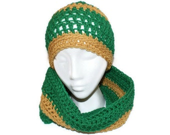 Green Hat Cowl Set Gold Cap and Cowl Green and Gold Hat Set, Mens Crochet Hat, School Hat Set, Fall Fashion