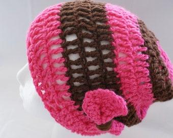 Pink Womens Beanie, Slouchy Cap, Winter Fashion Hat, Pink Womens Hat, Hat with Bow, Womens Fashion Hat, Pink Brown Cap, Winter Cap
